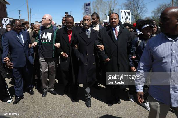 Rev Al Sharpton Bishop Charles Blake and Martin Luther King III lead a march on the anniversary of the assassination of Martin Luther King Jr April 4...