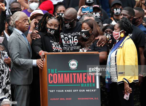 Rev. Al Sharpton , Bridgett Floyd and Philonise Floyd , siblings of George Floyd, and Rep. Sheila Jackson Lee stand at the podium at the 2020 March...