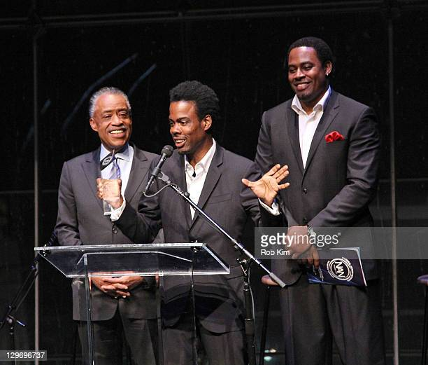 Rev Al Sharpton Chris Rock and Lamman Rucker attend the 2nd Annual Triumph Awards at the Rose Theater Jazz at Lincoln Center on October 19 2011 in...