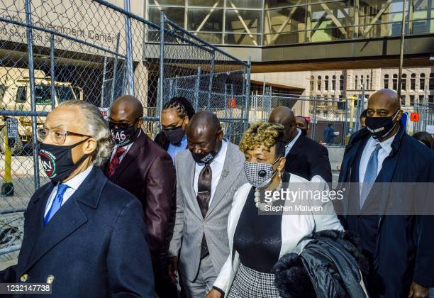 Rev. Al Sharpton , George Floyd's brother Philonise Floyd, attorney Ben Crump , Eric Garner's mother Gwen Carr, and NYC mayoral candidate Ray McGuire...