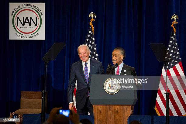 Rev Al Sharpton introduces US Vice President Joe Biden before speaking during the National Action Network's annual King Day Breakfast at The...