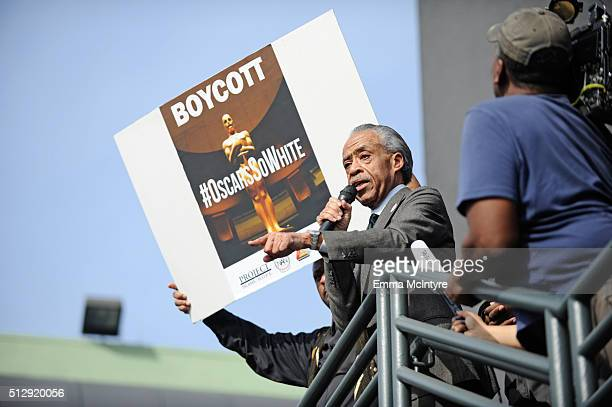 Rev Al Sharpton leads a rally before the Academy Awards ceremony at Hollywood High School on February 28 2016 in Los Angeles California