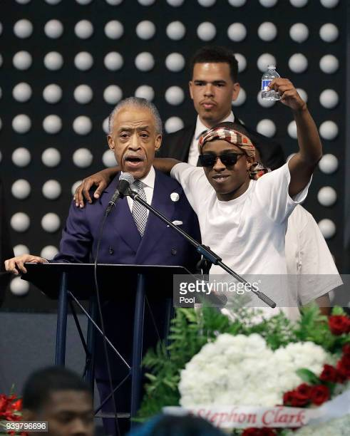 Rev Al Sharpton left speaks to Stevante Clark during the funeral services for police shooting victim Stephon Clark at Bayside Of South Sacramento...