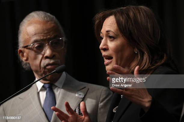 Rev Al Sharpton looks on as Democratic presidential candidate US Sen Kamala Harris speaks at the National Action Network's annual convention April 5...