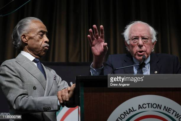 Rev. Al Sharpton looks on as Democratic presidential candidate U.S. Sen. Bernie Sanders speaks at the National Action Network's annual convention,...