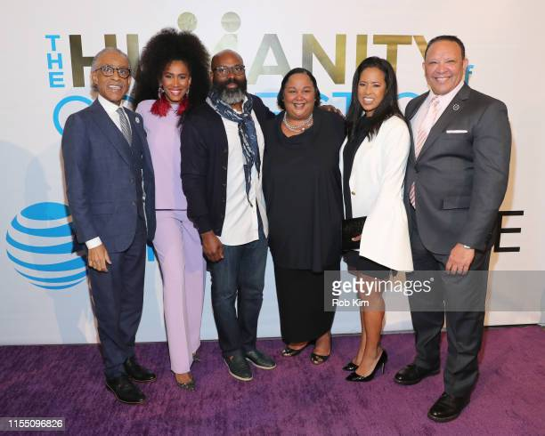 Rev Al Sharpton MoAna Luu Richelieu Dennis Tanya Lombard Michelle Ebanks and Marc Morial attend ESSENCE ATT Humanity Of Connection event at New York...