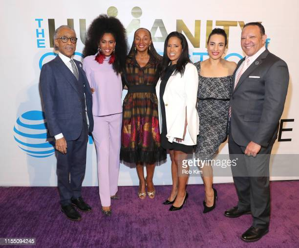 Rev Al Sharpton MoAna Luu Susan L Taylor Michelle Ebanks and Marc Morial attend ESSENCE ATT Humanity Of Connection event at New York Historical...