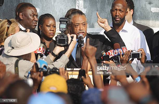 Rev. Al Sharpton speaks at a rally with Tracy Martin , and Sybrina Fulton , parents of slain teenager Trayvon Martin, on March 22, 2012 in Sanford,...
