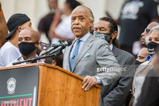 """Rev. Al Sharpton speaks at the 2020 March on Washington, officially known as the """"Commitment March: Get Your Knee Off Our Necks,"""" at the Lincoln..."""