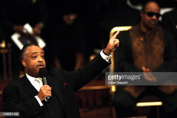 Rev Al Sharpton speaks during the funeral service for the late Johnnie Cochran at the West Angeles Cathedral in Los Angeles California April 6 2005