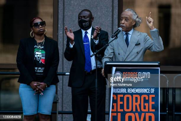 Rev. Al Sharpton speaks during the inaugural remembrance rally and march hosted by the George Floyd Global Memorial, commemorating the first...