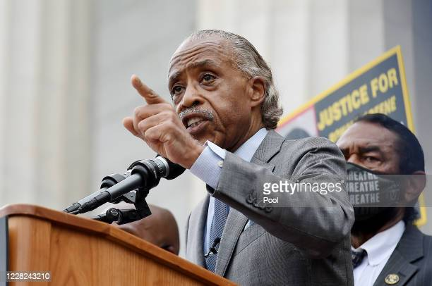 Rev. Al Sharpton speaks during the March on Washington at the Lincoln Memorial on August 28, 2020 in Washington, DC. Today marks the 57th anniversary...