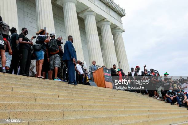 Rev. Al Sharpton speaks on the steps of the Lincoln Memorial during the Commitment March on August 28, 2020 in Washington, DC. Rev. Al Sharpton and...