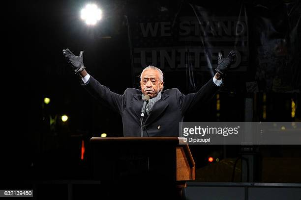 Rev Al Sharpton speaks onstage during the We Stand United NYC Rally outside Trump International Hotel Tower on January 19 2017 in New York City