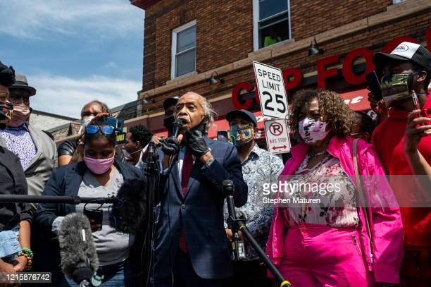 Rev Al Sharpton speaks to a group of people gathered outside the Cup Foods where George Floyd died while in police custody on May 28 2020 in...