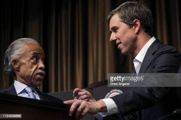 Rev Al Sharpton speaks to former US Representative and Democratic presidential candidate Beto O'Rourke at the National Action Network's annual...