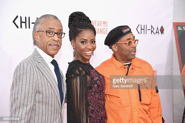 Rev Al Sharpton Teyonah Parris and Spike Lee attend the 'CHIRAQ' New York premiere at Ziegfeld Theater on December 1 2015 in New York City