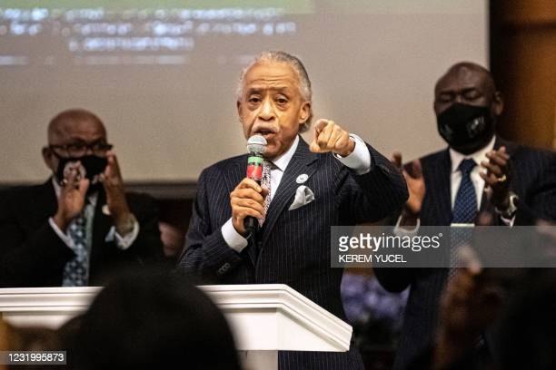 Rev. Al Sharpton , the founder and President of National Action Network speaks during a prayer vigil at Greater Friendship Missionary on March 28 in...