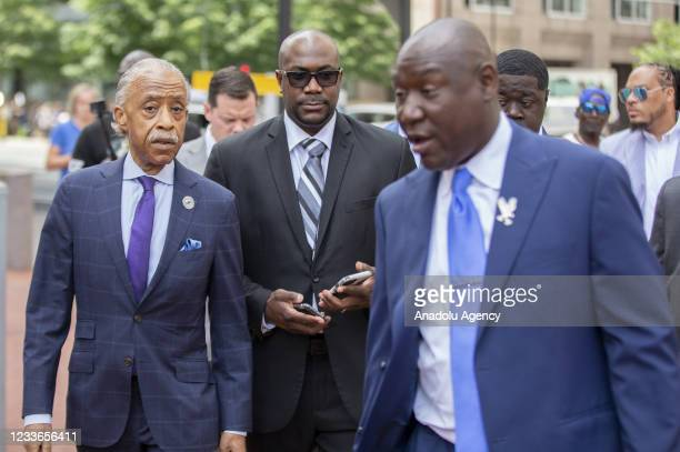 Rev. Al Sharpton walks to the Hennepin County Government Center with Philonise Floyd , the brother of George Floyd before sentencing was announced...