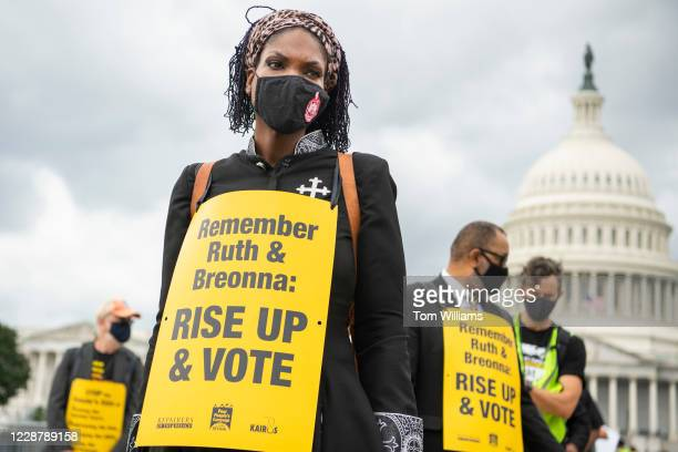Rev. Angela Martin prepares for march with the Poor People's Campaign to highlight the senates sins which include pushing for a Supreme Court seat...