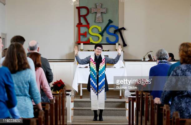 Rev Cynthia Good Pastor at Calvary United Methodist Church in Arlington MA speaks to her church during Sunday services on Jan 5 2020 On Epiphany...