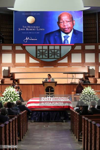 Rev. Dr. Bernice King offers a prayer at the start of the funeral of late Civil Rights leader John Lewis at the State Capitol in Atlanta, Georgia on...