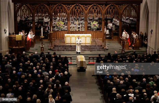 Rev Dr Russell J Levenson Jr gives a sermon during a funeral service for former first lady Barbara Bush at St Martin's Episcopal Church April 21 2018...