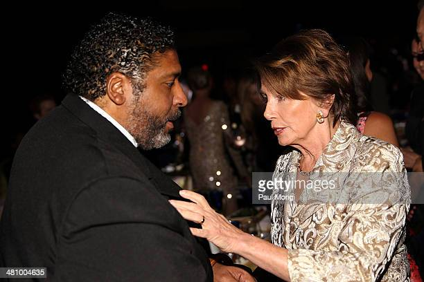 Rev Dr William Barber talks with US House Minority Leader Rep Nancy Pelosi at the Planned Parenthood Federation Of America's 2014 Gala Awards Dinner...