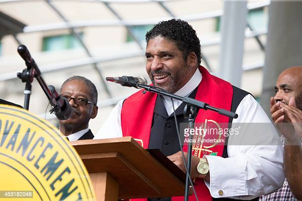 Rev. Dr. William J. Barber attends Mountain Moral Monday 2014 at Pack Square Park on August 4, 2014 in Asheville, North Carolina.
