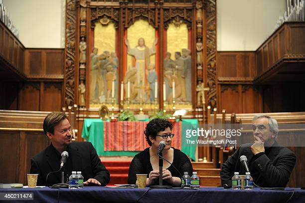 Rev Frank Schaefer left takes part in a panel discussion with Beth Stroud center and Jimmy Creech right at Foundry United Methodist Church on Sunday...