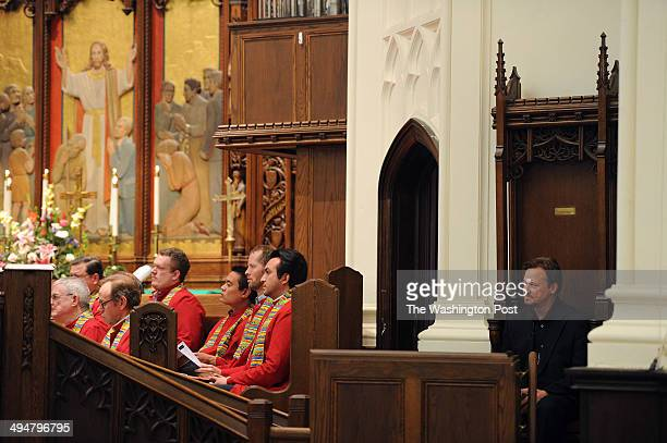 Rev Frank Schaefer makes an appearance at Foundry United Methodist Church on Sunday January 26 2014 in Washington DC Schaefer was defrocked by the...