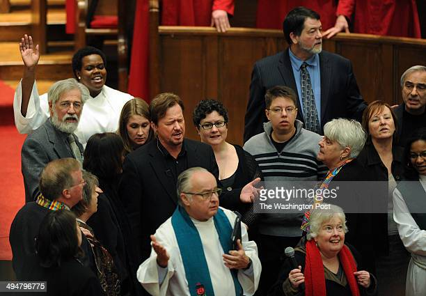 Rev Frank Schaefer top left center takes part in a service at Foundry United Methodist Church on Sunday January 26 2014 in Washington DC Schaefer was...