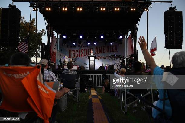 Rev Franklin Graham speaks during Franklin Graham's 'Decision America' California tour at the Stanislaus County Fairgrounds on May 29 2018 in Turlock...