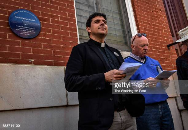 Rev Grey Maggiano stops in front of the home of Charles Marshall General Lee's Aide de camp during the civil war and a notorious racist as clergy and...