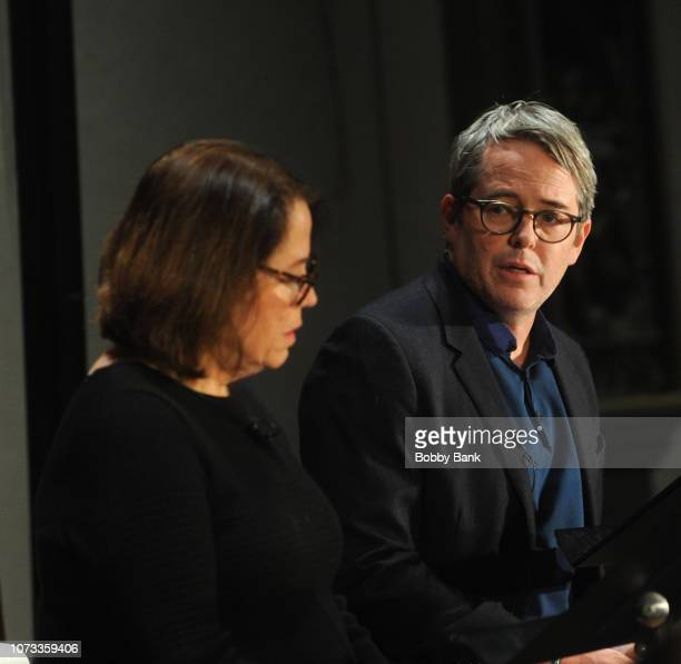 Rev Janet Broderick and her brother actor Matthew Broderick perform a reading of Truman Capote's A Christmas Memory at St Peter's Episcopal Church on...