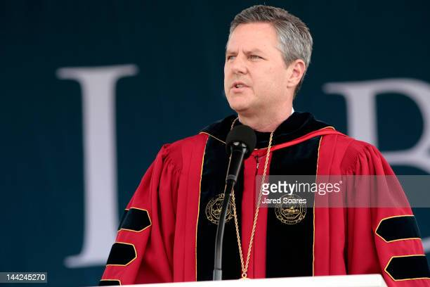Rev Jerry Falwell Jr speaks after Republican presidential candidate and former Massachusetts Gov Mitt Romney delivers the commencement address at...