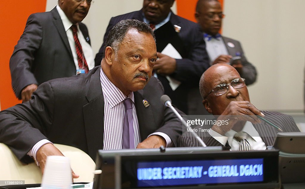 Rev. Jesse Jackson (L) and Nelson Mandela's close friend Andrew Mlangeni (R) talk before the start of an informal meeting of the plenary of the General Assembly, on the commemoration of the Nelson Mandela International Day, at U.N. headquarters on July 18, 2013 in New York City. South Africa's first black president and anti-apartheid leader turns 95 today on his 41st day in the hospital.