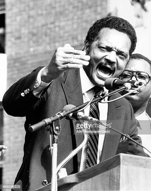 Rev Jesse Jackson, Baptist minister and civil rights leader, passionately addresses students at Rutgers University during their South Africa...