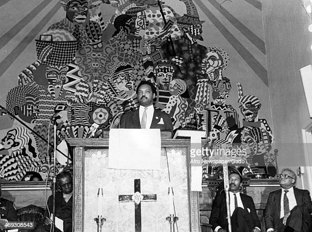 Rev Jesse Jackson Baptist minister and civil rights leader with Bishop Harrison Bryant Councilman Kweisi Mfume and Rev Ben Hooks at Bethel AME Church...