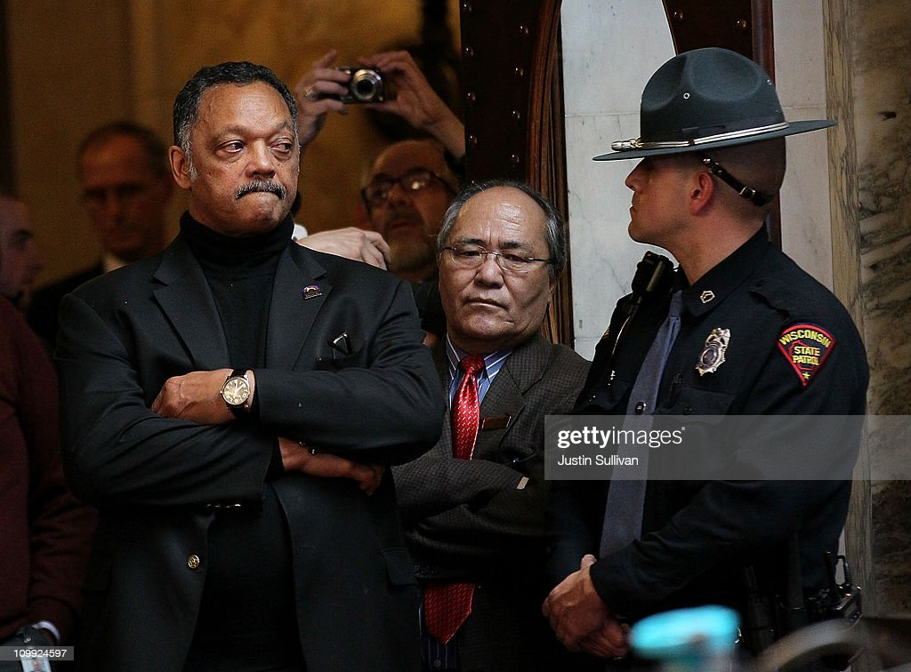 Rev. Jesse Jackson looks on during a session of the assembly at the Wisconsin State Capitol on March 10, 2011 in Madison, Wisconsin. Thousands of demonstrators continue to protest at the Wisconsin State Capitol as the Wisconsin house prepares to vote on the state's controversial budget bill one day after Wisconsin Republican Senators voted to curb collective bargaining rights for public union workers in a surprise vote with no Democrats present.