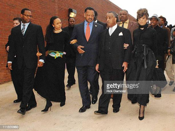 Rev Jesse Jackson Rev Al Sharpton and families after paying their respects to the late James Brown who is lying in repose at the James Brown Arena in...