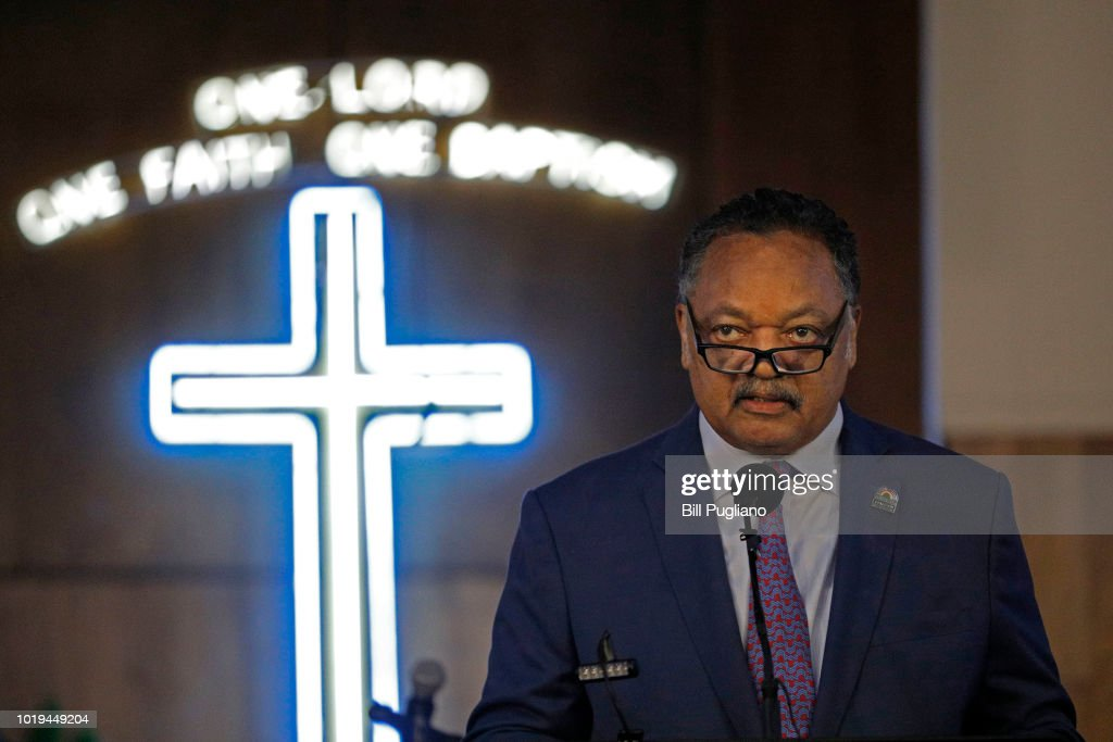 Rev. Jesse Jackson Speaks At Aretha Franklin's Church In Detroit, Days After Her Passing