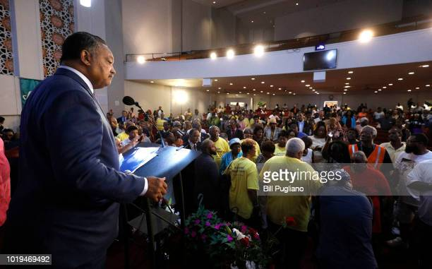 Rev Jesse Jackson speaks at New Bethel Baptist Church the church where Aretha Franklin's late father Rev CL Franklin was a minister and where she...