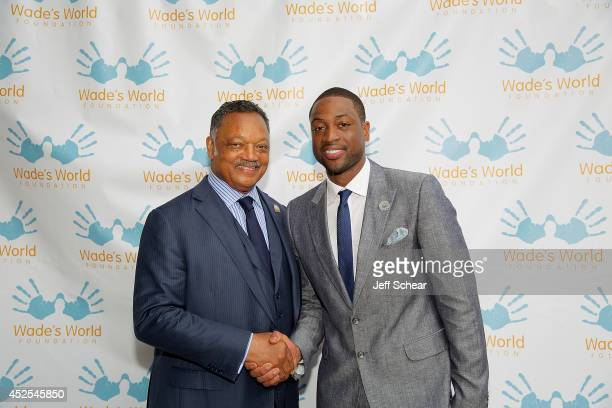 Rev Jesse Jackson Sr and NBA Player Dwyane Wade attend the Wade's World Foundation Dinner Hosted By Dwyane Wade at Chicago Cut Steakhouse on July 22...