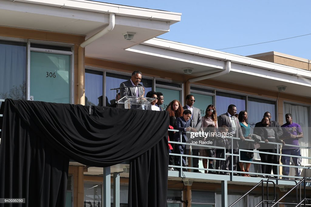 Rev. Jesse Jackson, Sr. speaks, as his family stands near him, from the balcony outside room 306 at the Lorraine Motel, where he was when Dr. Martin Luther King, Jr. was assassinated on April 4, 2018 in Memphis, Tennessee. The city is commemorating Dr. King's legacy before his death on the balcony outside his hotel room on April 4, 1968.