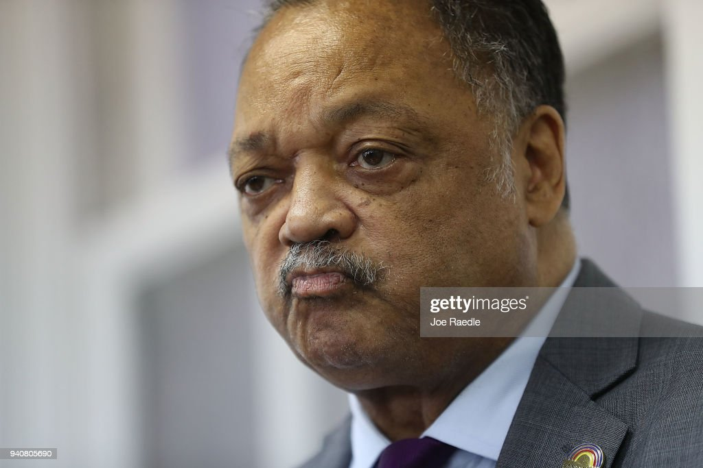 Rev. Jesse Jackson, Sr. speaks to the media as he takes part in the Tristate Rainbow PUSH Coalition pre-MLK 50 kick off service at Mt. Olive Cathedral CME Church on April 1, 2018 in Memphis, Tennessee. The event was among many being held in the city over the next few days in honor of the late Dr. Martin Luther King, Jr. who was assassinated 50 years ago on the balcony at the Lorraine Motel. Rev. Jackson was on the balcony with Dr. King when he was shot.