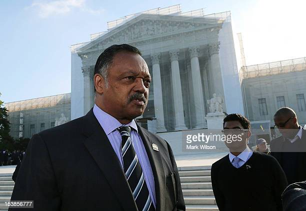 Rev Jesse Jackson Sr stands in front of the US Supreme Court on October 10 2012 in Washington DC Today the high court is scheduled to hear arguments...