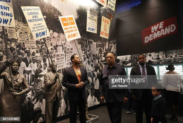 Rev Jesse Jackson tours the National Civil Rights Museum with his family as the city prepares for the 50th anniversary of the assassination of the Dr...