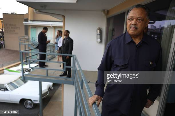 Rev Jesse Jackson visits the balcony outside room 306 at the Lorraine Motel where he was when Dr Martin Luther King Jr was assassinated on April 3...