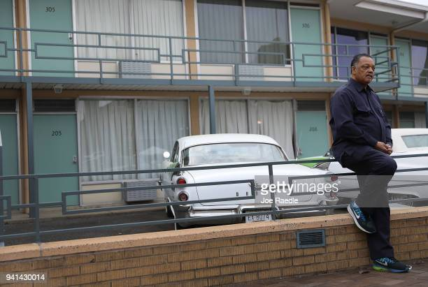 Rev Jesse Jackson visits the Lorraine Motel where he was when Dr Martin Luther King Jr was assassinated on April 3 2018 in Memphis Tennessee The...